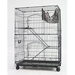 """Homey Pet - 3 Tiers 30"""" Cat Cage with Hammock, Casters, Sleeping Platform and Pull Out Tray"""