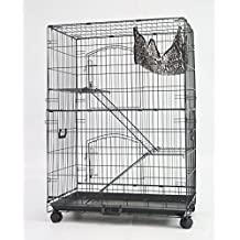 """Homey Pet 3 Tiers 30"""" Cat Cage with Hammock, Casters, Sleeping Platform and Pull Out Tray"""