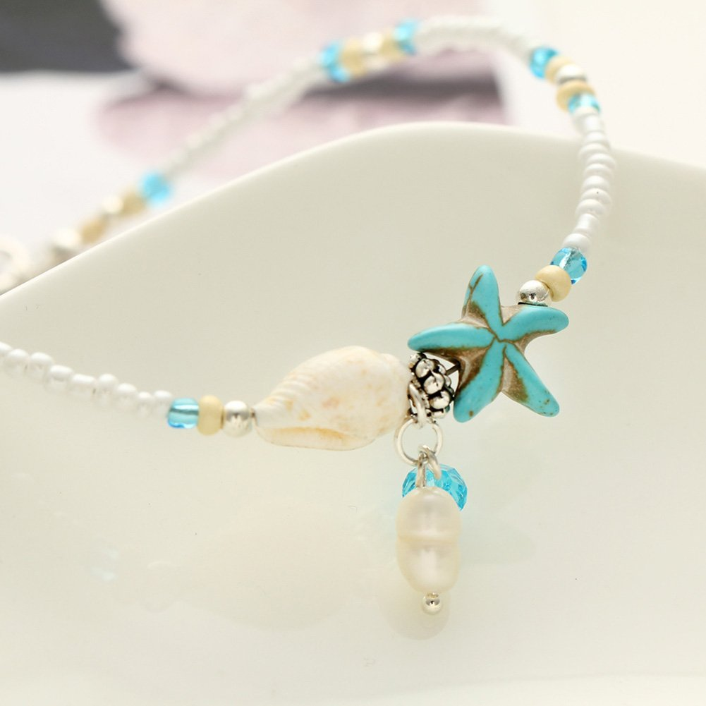 PORPI-JOJO Conch Starfish Pendant Beads Anklets Summer Beach Foot Jewelry Seaside Fashion for Women Girls Chengmen ANK-C1041