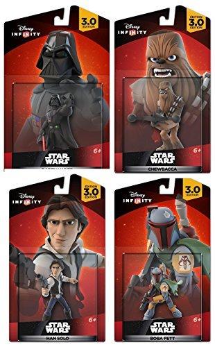 Disney Infinity Star Wars Boba Fett / Darth Vader / Chewbacca Han Solo 3.0 Edition figure Gaming set