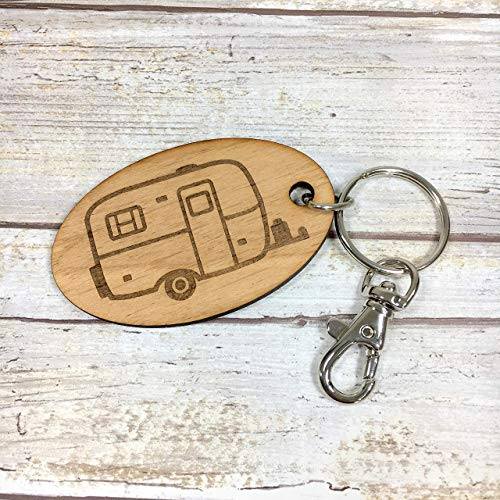 Scamp Camper Oval Key Fob Keychain. Available in two sizes and with personalized wording.