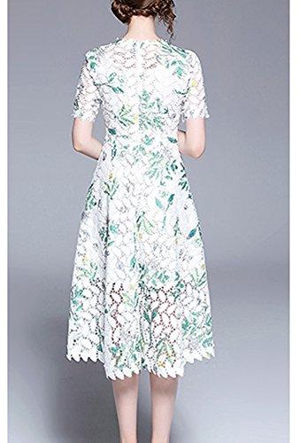 Spitze Grün DISSA Kleider Midi Damen Linie A Kurzarm Blumen Kleid YL72506 Cocktailkleid Partykleid Hohl wwxRqA1T