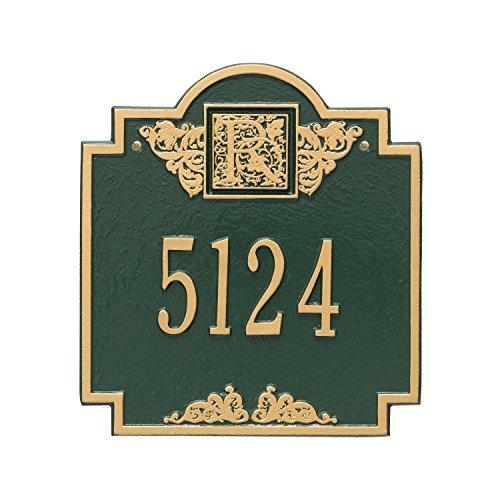 Whitehall Monogram Standard Address Plaque Finish: Green and Gold