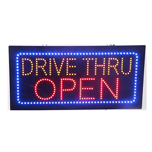 LED Drive Thru Open Light Sign Super Bright Electric Advertising Display Board for Pizza Burger Hot Dog Beer Wine Liquor Business Shop Store Window Bedroom Decor 24 x 12 inches (HSD0064)