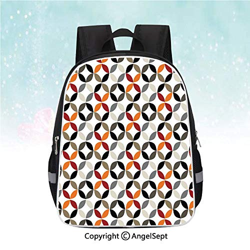 Schoolbag for Kids,Dimensional Ring Forms Artful Series Tones Hispter Boho Decor Image,13