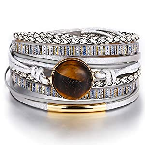 17MILE Multi-Layer Leather Wrap Bracelet Amber Stone Handmade Weave Cuff Bangle Alloy Magnet Buckle Bracelets for Women,Girls Gift