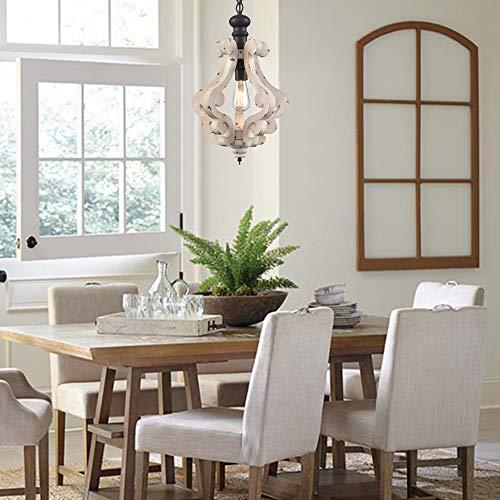 CLAXY Wooden Pendant Light Distressing White Finish Farmhouse Chandelier