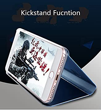 CrazyLemon Case for iPhone 7 / iPhone 8 Standing Cover Electroplating PC + PU Leather 360 Degree Full Body Full Protection Bright Clear Plating Mirror Cover Case with Flip Cover and Stand Folding Kickstand Protective Bumper Case for iPhone 7 / iPhone 8 4.7