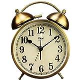 Tochange 4Inch Twin Bell Alarm Clock,Retro Metal Silent Desk Clock for Bedside Study Room Office(10.95.215Cm)