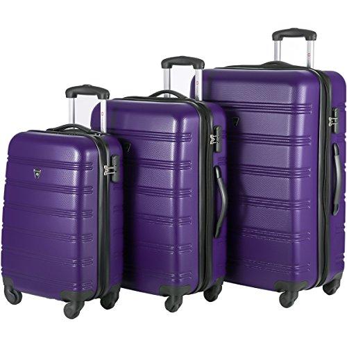 Travelhouse Luggage Set 3 Piece Expandable Lightweight Spinner Suitcase (Purple) by Travelhouse