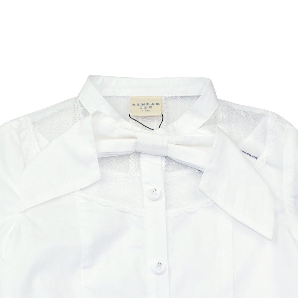 AIMBAR Kids Girls Princess Button-Down Blouse Half Shoulder Lace Bowknot Shirt Age 4-13 Years