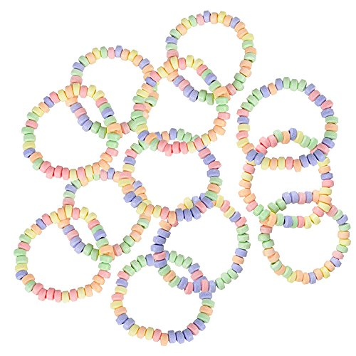 Kicko Stretchable Candy Necklace - Pack of 12 Colorful Fruit-Flavored Chewables for Party Favors, Cake Decorations, Novelty Supplies or Treats for Halloween, Christmas, Baby - Necklaces Stretchable Candy