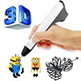 ACTOPP 2017 Updated White 3D Pen 3D Intelligent Dimension Pen with 1.75mm PLA/PCL Filament Support 3D Printing Pen One Button Operation No Burn No Toxic No Clog Gifts for Boys & Girls