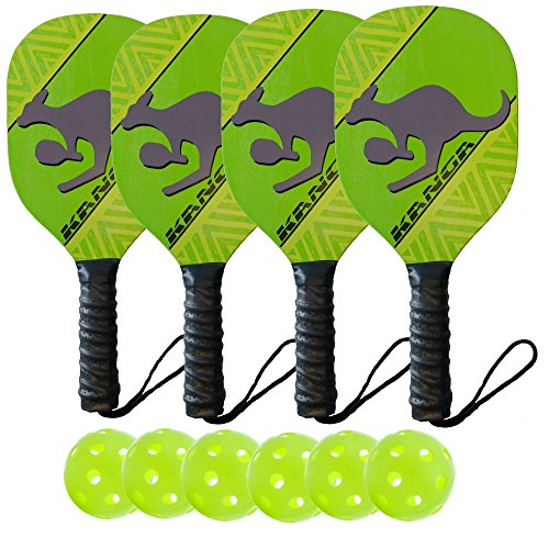 Kanga Wood Pickleball Paddles (4 Paddle/6 Ball Bundle)