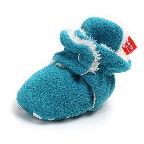 Sawimlgy Baby Boys Girls Cozy Fleece Soft Sole Ankle Booties Grippers Slipper for 0-18 Months Prewalker (12-18 Months, A-Blue) -
