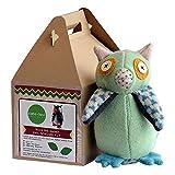 "Cate and Levi 10"" Handmade Hoo's The Maker Owl Plush Stuffed Animal Making Kit (Premium Reclaimed Wool), Colors Will Vary"