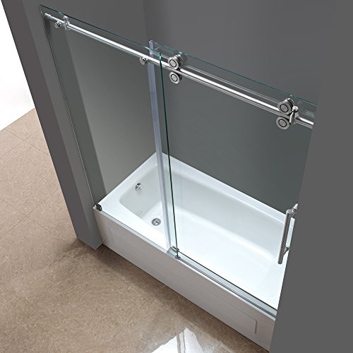 Aston TDR978-SS-60-10 60-Inch x 60-Inch Completely Frameless Tub-Height Shower Sliding Door, Stainless Steel Finish by Aston (Image #3)