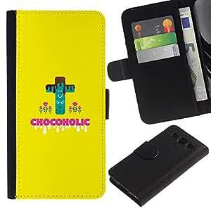 """SAMSUNG Galaxy S3 III / i9300 / i747 , la tarjeta de Crédito Slots PU Funda de cuero Monedero caso cubierta de piel ("""" Chocoholic Sweets Sugar Danger Diet Healthy Food"""")"""