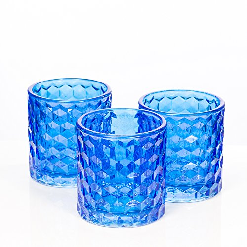 Richland Blue Chunky Honeycomb Glass Votive & Tealight Candle Holder Set of 6