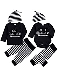 SUPEYA Baby Boys Big Brother Letter Print Shirt Romper+Striped Pant Outfit Jumpsuit