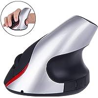 TECHVIDA 2.4 GHz Ratón Inalámbrico Ergonómico Recargable 5 Botones USB Mouse Óptico Forma Vertical Wireless Protege el Brazo (Plata)