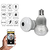 Panoramic Light Bulb Camera | VRCAM Fisheye 360 Degree Wireless WIFI IP Camera - 960P HD Bulb E27 Lamp Indoor Home Security Camera for iPhone Android
