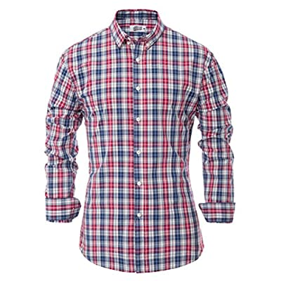 Percy Perry Men's Slim Fit Grid Long Sleeve Wrinkle Free Button Collar Shirt