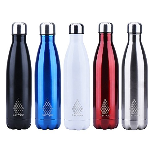 TEMPO 25 Oz White Double Wall Vacuum Insulated, Stainless Steel Water Bottle. Keep your beverage Cold for 24 hours or Hot for 12 hours!