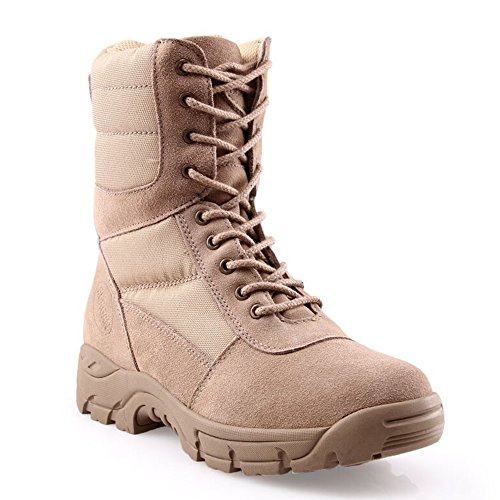 - BURGAN 888 All Terrain Tactical Size Zip Boot (Unisex) (43, Beige/Sand)