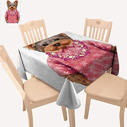UHOO2018 Decorative Tablecloth Square/Rectangle Portrait a Dog Humanoid Form a k Shirt Hawaian Assorted Size,52x 52 inch -