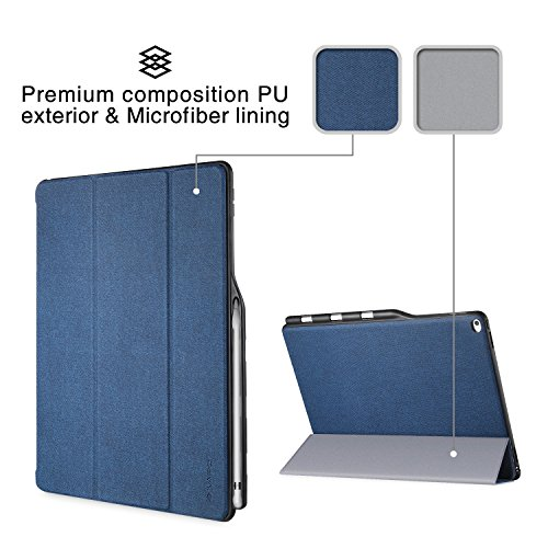 iPad Pro 12.9 Case, iVAPO [Brief Business Style] Premium PU Slim Fit Flip Folio Case with Apple Pencil Holder, [Stand Feature], Auto Sleep/Wake Smart Fabric Cover for iPad pro 12.9 inch-Blue (MM627) Photo #7