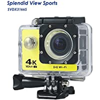 WIFI Action Camera, 4k Action Camera with Wifi 30M Waterproof Sports Camera and 2.4G Remote Contral / Rechargeable Batteries/ 170 Degree Wide Angle- Package including All Accessories Kits - Yellow