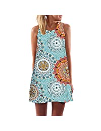 S.Charma Women Floral Printed O Neck Sleeveless Tank Short Dress Summer Casual Tunic Top