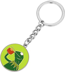 Kermit Frog Drinking Tea That's None of My Business Keyring Key Chain