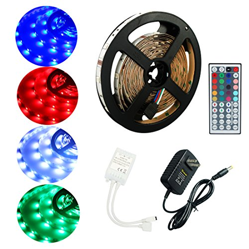 Amazon #LightningDeal 53% claimed: ALED LIGHT Led Strip 5050 150 SMD 5M/16.4FT Non-Waterproof Flexible RGB Color Changing + 44 Key IR Remote Controller+3A Power Adapter+Receiver for Outdoor/Indoor/Car/Stage/Festivals/Party Decoration