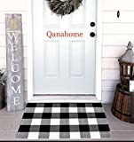 Cotton Bath Runner Buffalo Check Rug Black and White Plaid Runner Doormat Hand-Woven Checkered Carpet forDoorway/Kitchen/Bathroom/Entry Way/Laundry Room/Bedroom (24' x35', B Black and White)