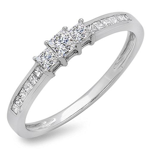 0.45 Carat (ctw) 10k White Gold Princess Cut Diamond Ladies Bridal 3 Stone Engagement Ring 1/2 CT (Size 6.5)