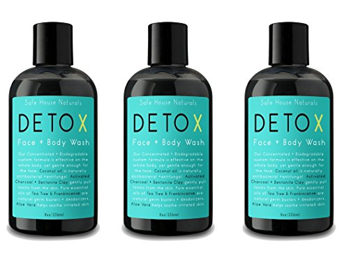 Safe House Naturals Detox Face and Body Wash 3 Pack Skin Clearing Cleanser, Activated Charcoal Organic Aloe for Congested Skin, Tea Tree Clary Sage Fights Acne, Non Oily, For Men Women