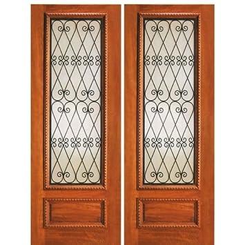 Mahogany Wood Door with Wrought Iron IR-737-2 - AAW Doors Inc.  sc 1 st  Amazon.com & Mahogany Wood Door with Wrought Iron IR-737-2 - AAW Doors Inc ... pezcame.com