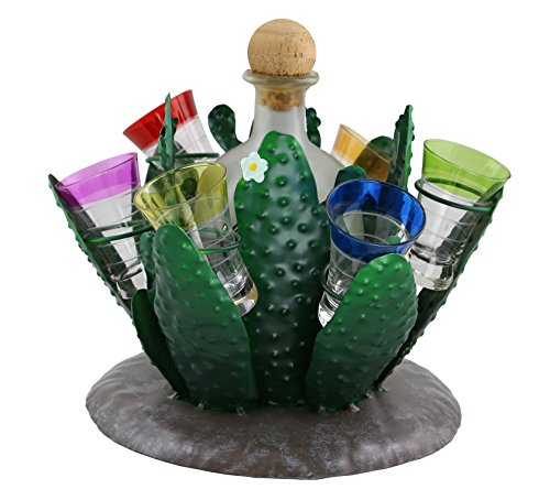 Metal Green Nopal Cactus with Folwer Detail shot glass and tequila Bottle Holder Center Piece (Imported Tequila)