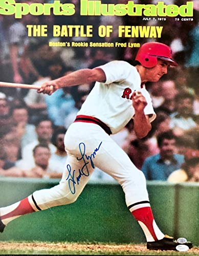 (Fred Lynn Boston Red Sox Sports Illustrated Autographed Signed Memorabilia 16X20 Photograph JSA)