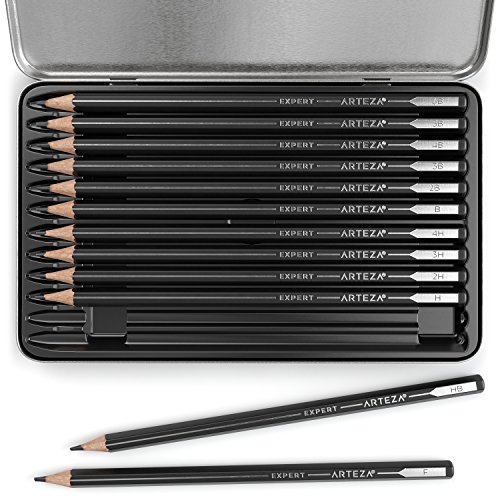 ARTEZA Professional Drawing Sketch Pencils Set of 12, Medium (6B - 4H), Ideal for Drawing Art, Sketching, Shading, Artist Pencils for Beginners & Pro Artists