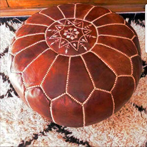 Stuffed Handmade Genuine Leather Moroccan Pouf, Ottoman (Tan) (Ottoman Moroccan Style)