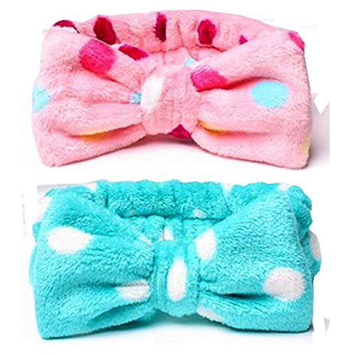 HappyDaily Lovely Supersoft Shower Hair Band - Ideal Hairlace Headband for Washing Face or Makeup (2, Pink with colourful polka dot+Blue polka - Face And Head Shape