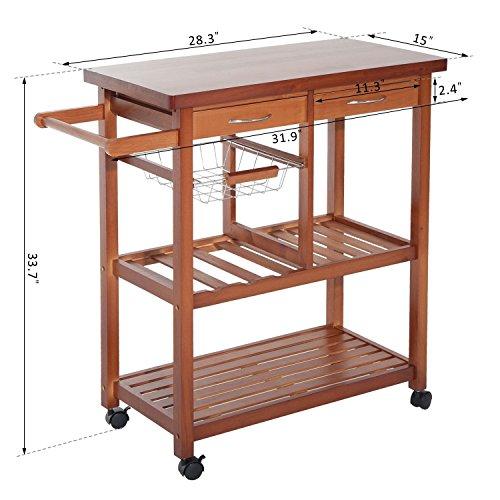 homcom wooden rolling storage microwave cart kitchen trolley import it all. Black Bedroom Furniture Sets. Home Design Ideas