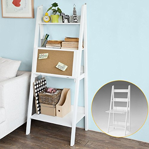 Bookcase Desk Ladder (SoBuy Modern ladder bookcase made of wood, book shelf,stand shelf, wall shelf (FRG115-W))