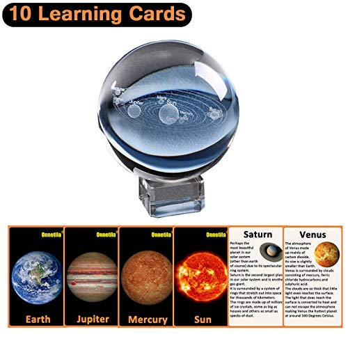 Onnetila 3D Solar System Crystal Ball with 10 Science Cards and Light Base, Physics Gifts Space Glass Universal in a Sphere Science Toys for Boys and Girls