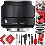 Sigma 30mm F2.8 EX DN Art Lens (Black) for Sony E (33B965) 17PC 16GB Bundle