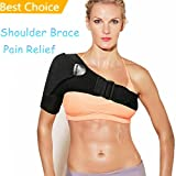 Shoulder Brace - Adjustable Shoulder Compression Sleeve for Shoulder Pain Relief Injury Prevention Frozen Shoulder Rotator Cuff Pain Dislocated AC Joint Labrum Tear - Shoulder Support Fits Right Left