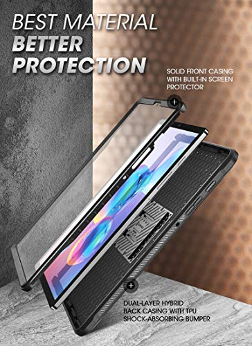 SupCase UB Pro Series Case for Galaxy Tab S6, with Built-in Screen Protector Full-Body Rugged Kickstand Protective Case for Galaxy Tab S6 10.5 Inch Model SM-T860/T865/T867 2019 Release (Black)